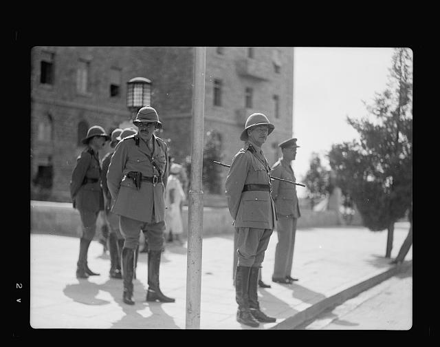 [Palestine disturbances 1936. Lt. General Dill watching military parade]