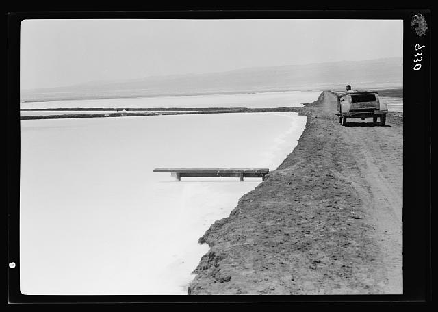 Dead Sea Album, prepared for the Palestine Potash Ltd. The newly constructed straight-course six kilometre road running due E. to Ghor Es Safieh