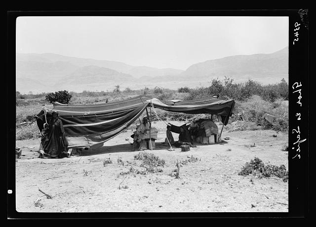 Dead Sea Album, prepared for the Palestine Potash Ltd. Bedouin tent at Ghor Es Safieh looking eastward across the plain toward the Moab foot-hills