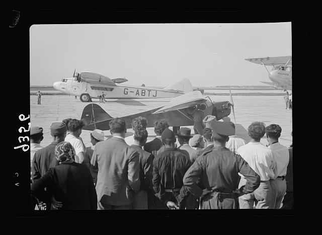 Wings over Palestine-Certificates of Flying School, April 21, 1939. A plane about to take off for a test flight [Lydda Air Port]