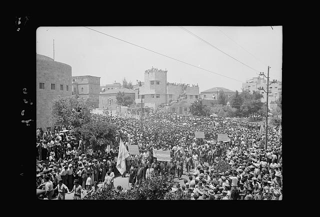 Jewish protest demonstrations against Palestine White Paper, May 18, 1939. Procession outside the Yeshuru [i.e., Yeshurun] Synagogue on King George Ave. [Jerusalem]