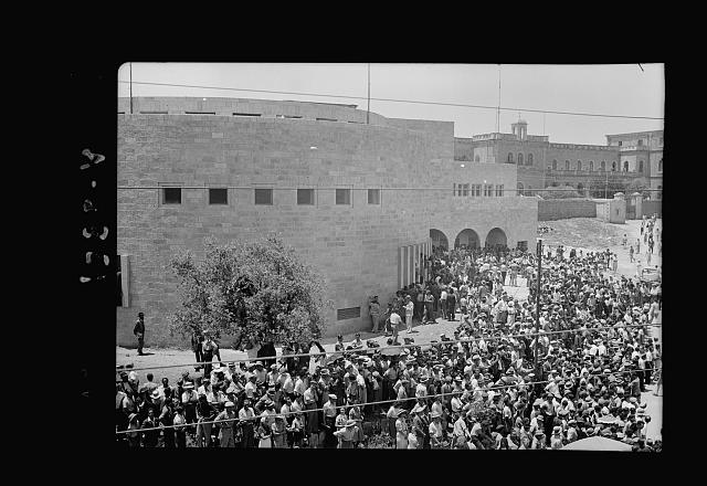 Jewish protest demonstrations against Palestine White Paper, May 18. 1939. Crowd leaving [Yeshurun] Synagogue [Jerusalem]