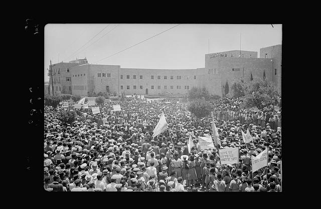 Jewish protest demonstrations against Palestine White Paper, May 18, 1939. Demonstrators passing the buildings of the Zionist Executive [Jerusalem]