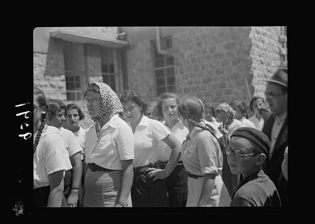 Jewish protest demonstrations against Palestine White Paper, May 18, 1939. Line of types of young girls in the procession at the [Rehavia] gymnasium gathering [Jerusalem]