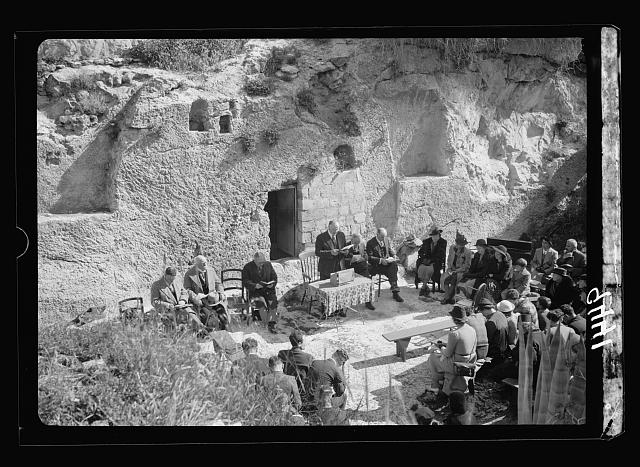 Easter morning at the Garden Tomb, April 9, 1939. Service conducted by Dr. D. Cooper