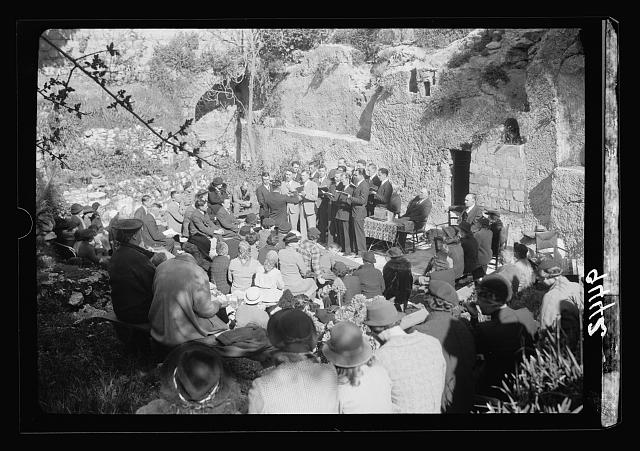 Easter morning at the Garden Tomb, April 9, 1939. The choir singing at the Service