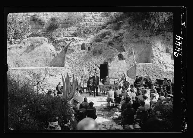 Easter morning at the Garden Tomb, April 9, 1939. Sermon