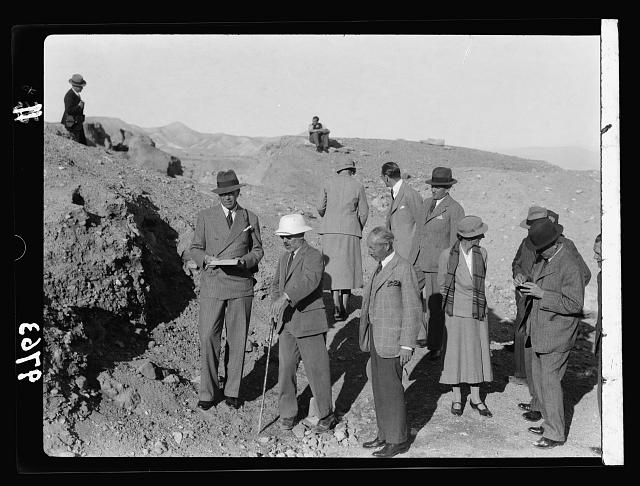 Visit of H.R.H. the Crown Prince of Sweden in December 1934. The Prince with High Commissioner seeing a Jericho excavation with Prof. Garstang