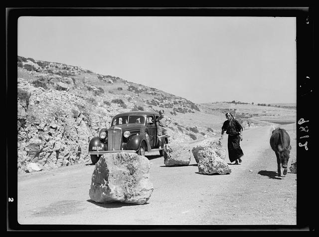 Hebron attack. Great boulders on the Hebron Highway placed by Arab gangs as a means toward wrecking police and military cars