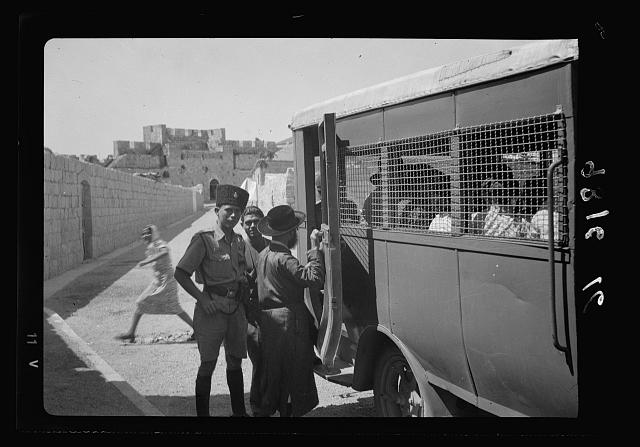 Caged-in Jerusalem buss [i.e., bus]