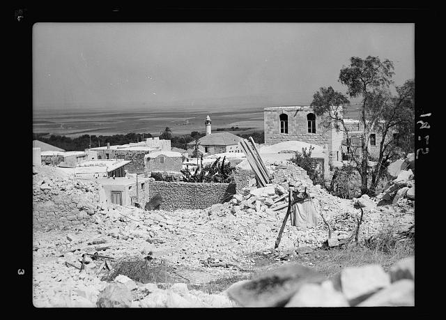 Jenin, Sept. 3, 1938. Gen[eral] view of section dynamited & showing Plain of Esdraelon in background