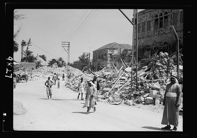 Jenin, Sept. 3, 1938. Heaps of debris in centre of Jenin