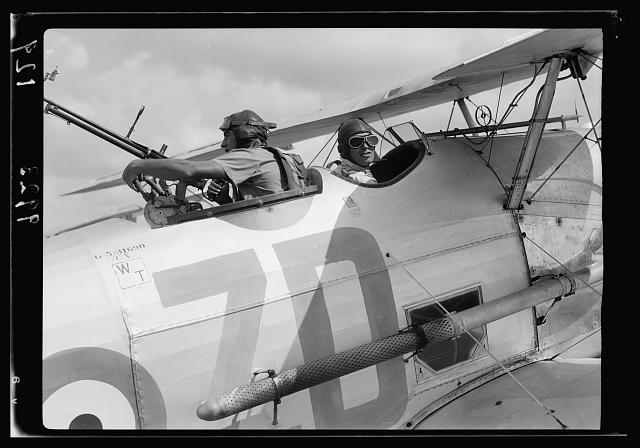 R.A.F. activities. Close up of pilot & machine gunner [Ramleh Aerodrome]