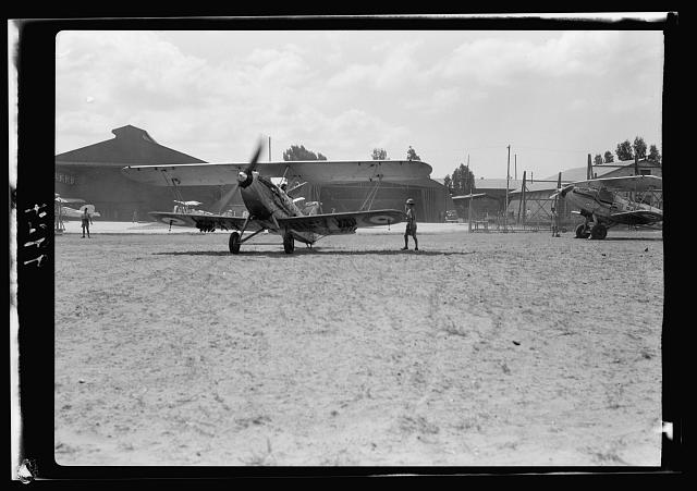 R.A.F. activities. Plane taxiing out [Ramleh Aerodrome]