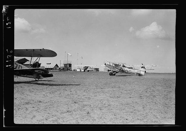 R.A.F. activities. Plane returning to home in Ramleh [Ramleh Aerodrome]