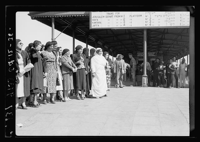 Palestine delegation of Arab ladies leaving Lydda Junction for Cairo, Oct 12, '38