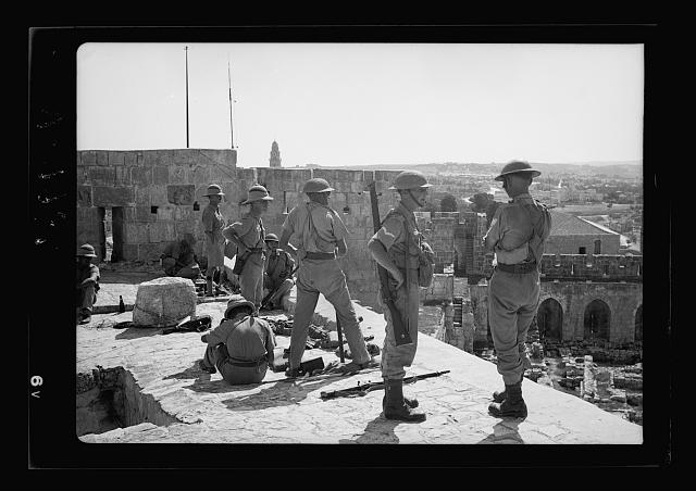 Troops on Tower of David, troops close up