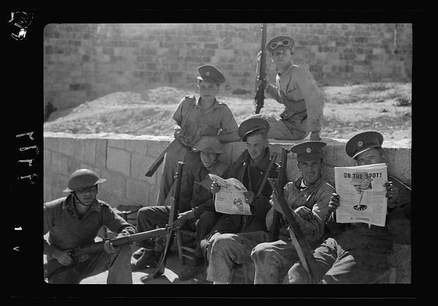 The raising of the siege of Jerusalem. Troops outside the Damascus Gate. 'taking it easy' while waiting for curfew hour at 10 a.m.