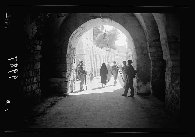 The raising of the siege of Jerusalem. Scene through a covered street inside Damascus Gate