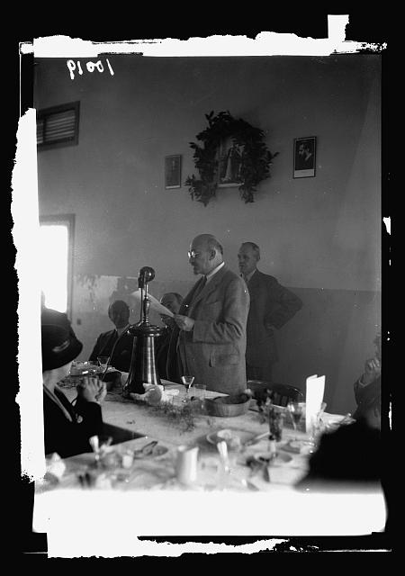 King George V Jubilee Forest Inauguration at Nahalal. Dr. Chaim Weitzman [i.e., Weizmann] before the microphone at dinner celebrating the occasion - first broadcast in Hebrew language