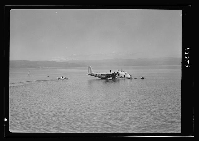 "Imperial Airways flying boat ""Clio"" on the Sea of Galilee"