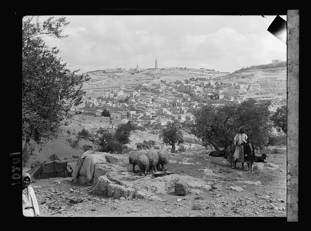 Siloam & Olivet from valley of Hinnom