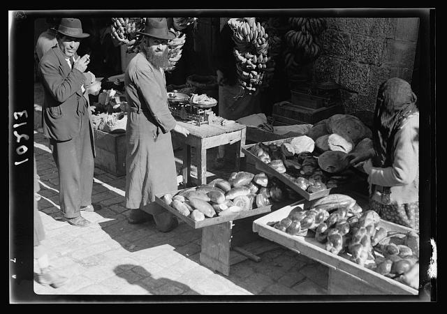 Jewish market in Mea Shearim, bread stands