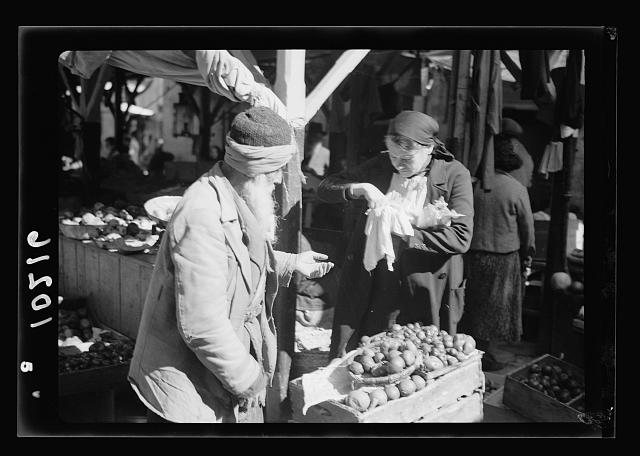Jewish market in Mea Shearim, vegetable stands