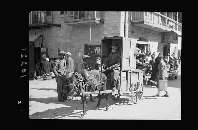 Jewish market in Mea Shearim. Bokharian [i.e., Bukharan], vegetables vendor with donkey car