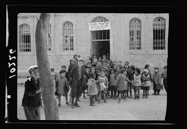 Children just out of school, Bokhara [i.e., Bukhara] Quarter