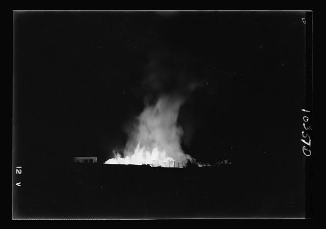 Fire in lumber yard at German Colony, Aug. 21-22, 1938