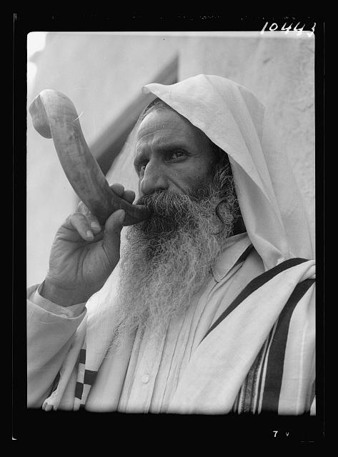 Jew blowing a shofar