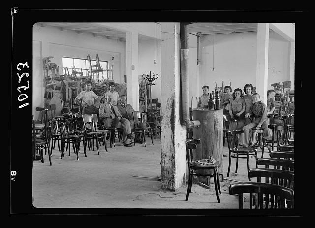 Jewish factories in Palestine on Plain of Sharon & along the coast to Haifa. Bent Furniture Factory in Holon Settlement. Making up Dep't.