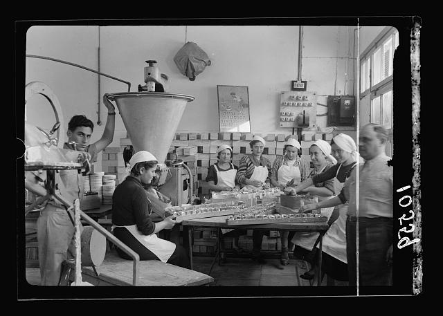 Jewish factories in Palestine on Plain of Sharon & along the coast to Haifa. Tel Aviv. Cheese factory. Int[erior]. Hand packing