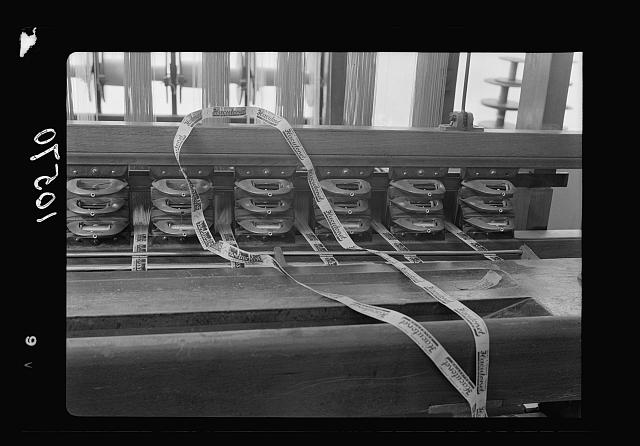 Jewish factories in Palestine on Plain of Sharon & along the coast to Haifa. Nachlat Izhak. Manufacture of ribbons & woven labels, detail of Jacquard [i.e., Jacquard] Weaving Looms