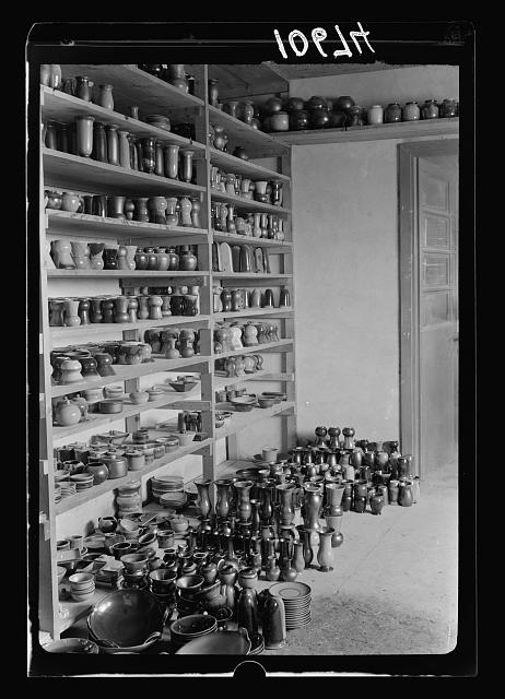 "Jewish factories in Palestine on Plain of Sharon & along the coast to Haifa. Haifa. The ""Kadar"" Ltd. Ceramics. Exhibit of finished work"