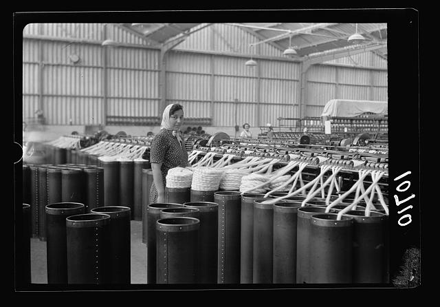 "Jewish factories in Palestine on Plain of Sharon & along the coast to Haifa. Near Acre, Kfar-Ata. The ""Ata"" Textile Co. Doubling of primary yarn (first process)"