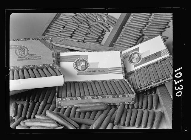 "Jewish factories in Palestine on Plain of Sharon & along the coast to Haifa. Kfar Ata, near Acre. The ""De Hoas"" cigar factory. Samples of cigars"