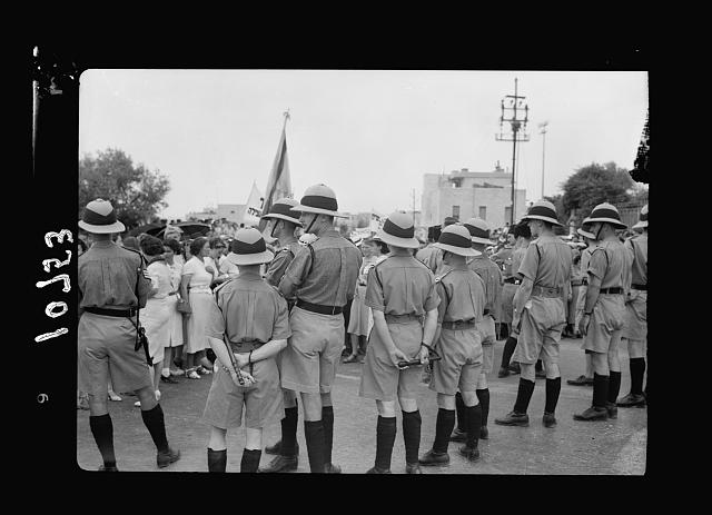 Jewish anti Palestine White Paper demonstrations. [Women's demonstration on May 22, 1939]. British constables lined up to keep procession within prescribed route [Jerusalem]
