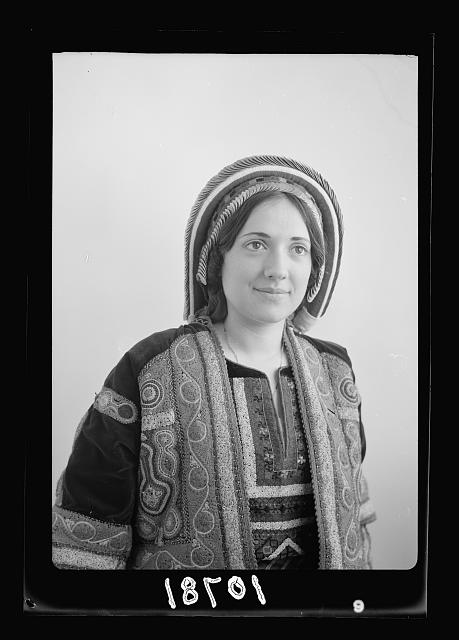 Ramallah type (Wedad Khuri). Weddad in finely embroidered Ramallah costume