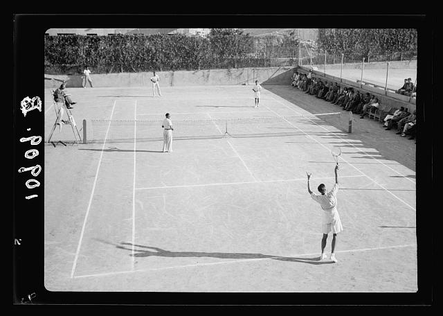 Jerusalem Y.M.C.A. activities. Tennis tournament, finals mens doubles, Aug. 1939