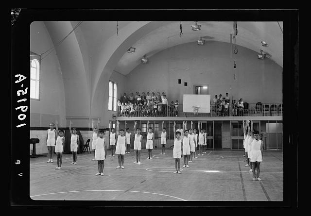 Jerusalem Y.M.C.A. activities. Gymnasium, boys' drill