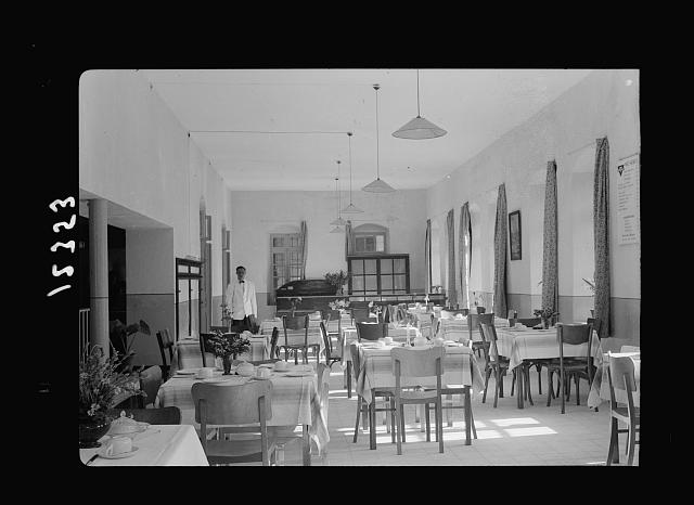 Opening of new Y.M.C.A. hostel by Gen. Wilson in old post office. Dining hall before arrival of guests