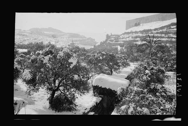 Snow scenes. Kedron Valley, showing Absalom's Pillar & S.E. corner city wall