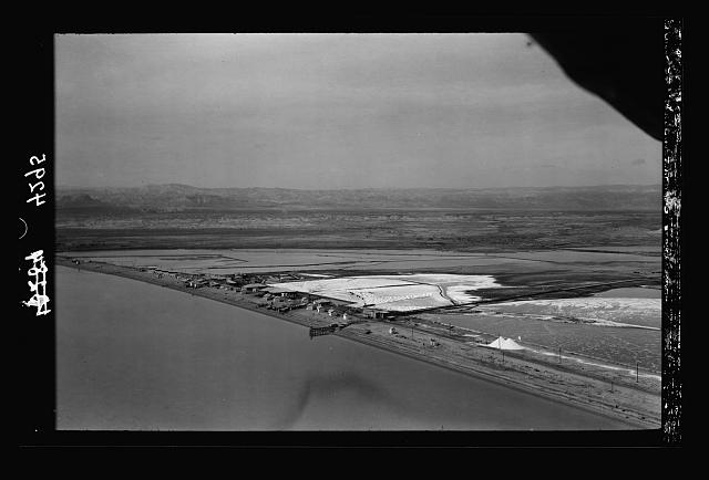 Air views of Palestine. The Palestine Potash Works. On N. shore of the Dead Sea. Palestine Potash Works. A general view taken from over the sea looking N.W.