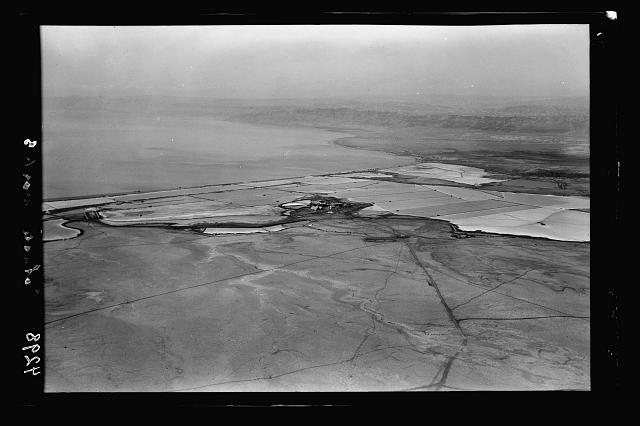 Air views of Palestine. The Palestine Potash Works. On N. shore of the Dead Sea. Palestine Potash Works. Looking S.W. showing a corner of the Dead Sea