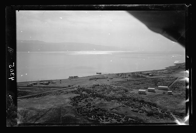 Air views of Palestine. Kallia Amusement and Health Resort. On N.W. shore of the Dead Sea. Kallia Dead Sea Resort. The grounds looking S.E. with the sea and Mts. of Moab beyond