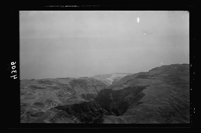 Air views of Palestine. Wady Nar, Mar Saba, Neby Mousa. Wady Nar. Western shore of Dead Sea. Entrance of the Kedron valley into the Dead Sea