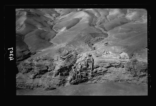 Air views of Palestine. Wady Nar, Mar Saba, Neby Mousa. Mar Saba Convent. In the lower Kedron valley. Looking west