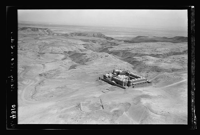 Air views of Palestine. Wady Nar, Mar Saba, Neby Mousa. Neby Mousa shrine. Closer view looking toward the Jericho plan